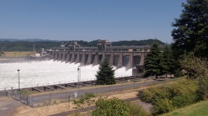 The Bonnevile Dam on the mainstem of the Columbia River, OR and WA