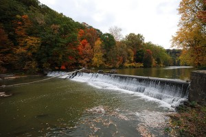 A dam on the Chagrin River, Ohio.