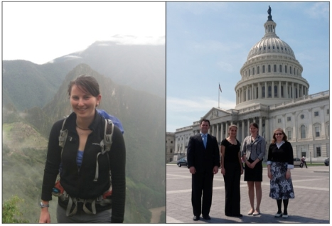 Left: Caitlin in Peru (photo credit Jess Goldman), Right: Caitlin on the Hill with the Massachusetts-Colorado BESC pack (Left to Right: Paul Tanger, Rebecca Certner, Caitlin McDonough MacKenzie, Jennifer Rood; photo credit Julie Palakovich Carr)