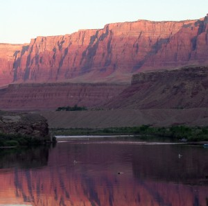 Sunrise on the Colorado River at Lee's Ferry, Arizona.